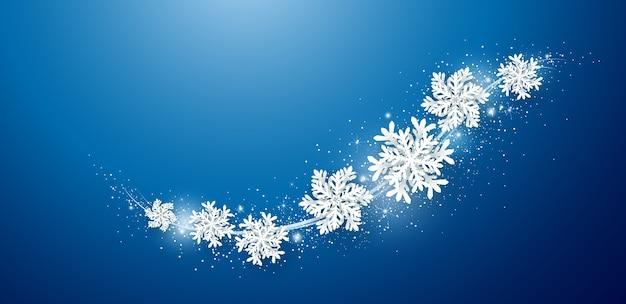 Рождество и зимний фон дизайн снежинки. Premium векторы