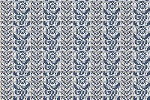 格子縞のセーターデザインのクリスマスと冬の休日の編みパターン。シームレスなパターン。 Premiumベクター