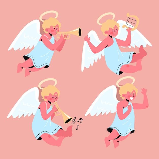 Collezione di angeli natalizi in design piatto Vettore gratuito
