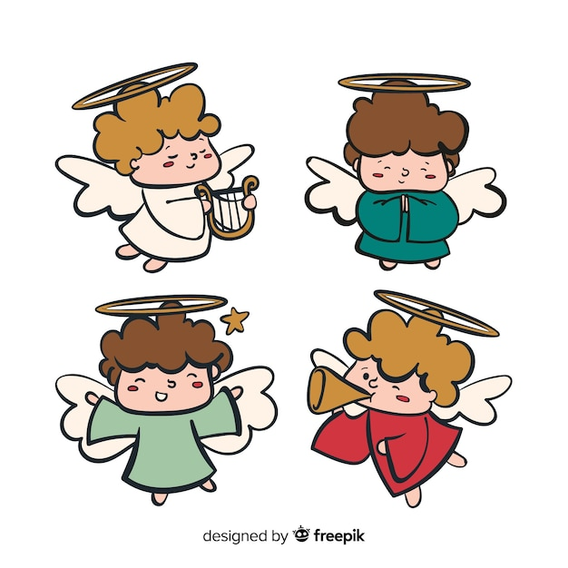 Christmas angel collection Free Vector