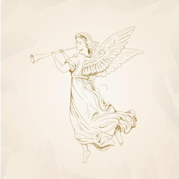 Christmas angel concept with vintage design Free Vector