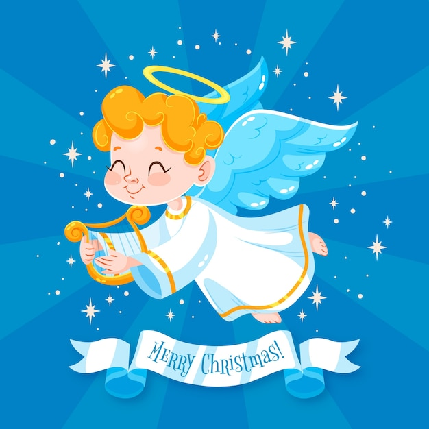 Christmas angel in flat design Free Vector