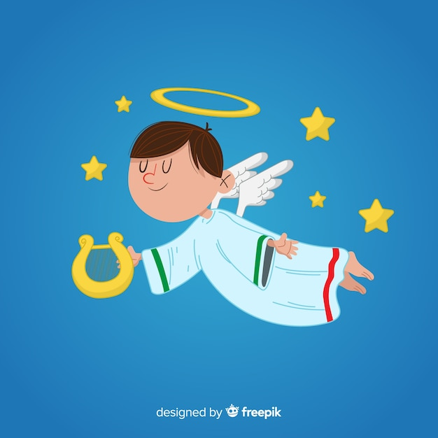 Christmas angel in hand drawn Free Vector