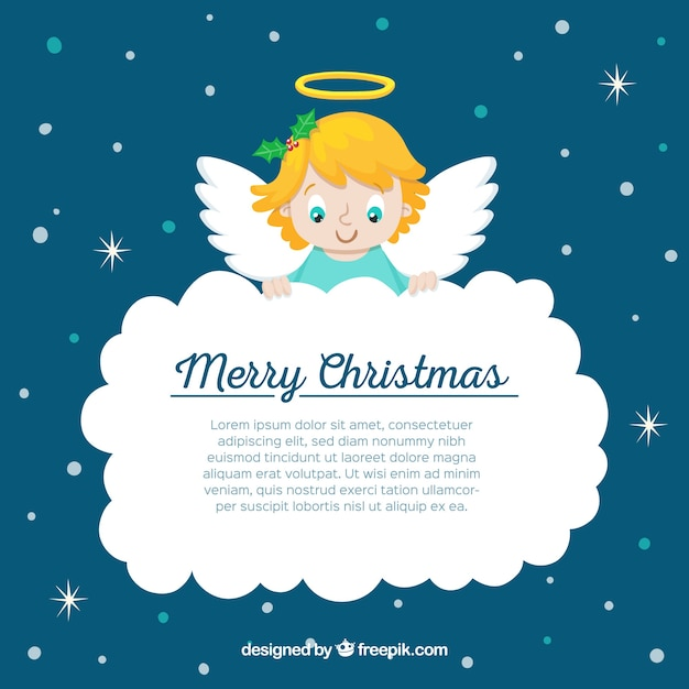 Christmas angel holding a big cloud Free Vector