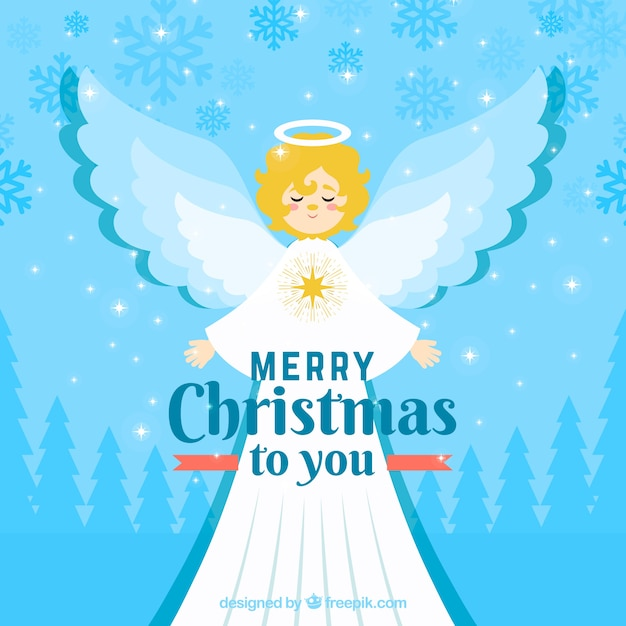 Christmas angel in a long white robe
