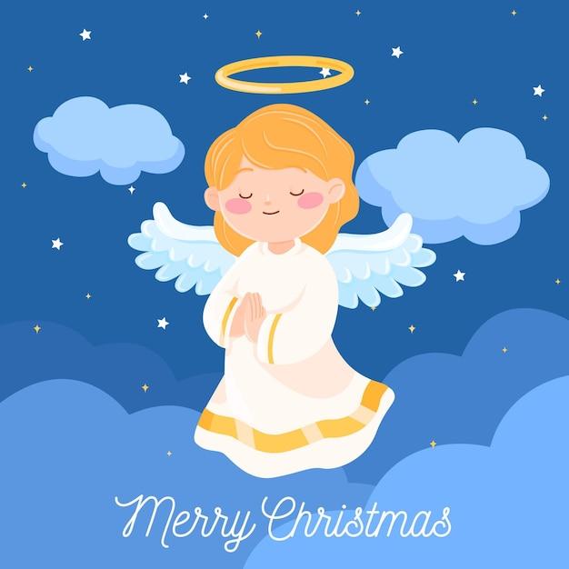 평면 디자인에 크리스마스 천사 무료 벡터