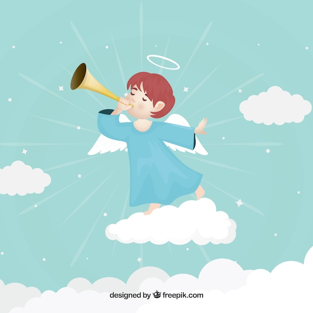 Christmas angel on the cloud playing music Free Vector