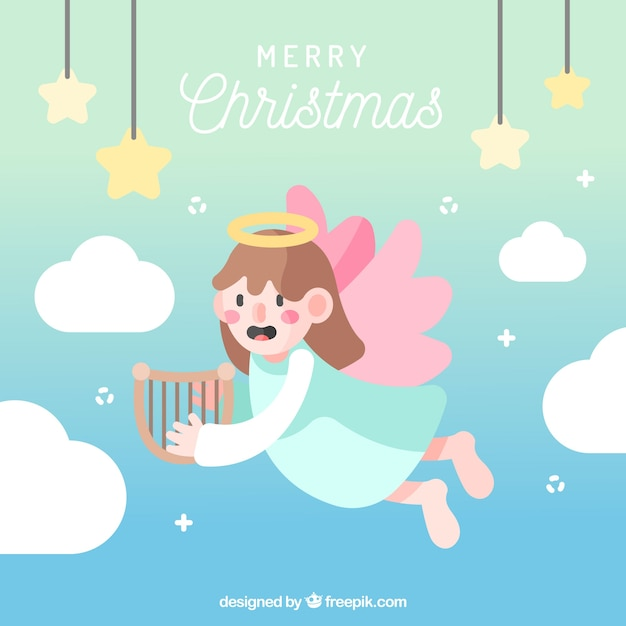 Christmas angel with pink wings