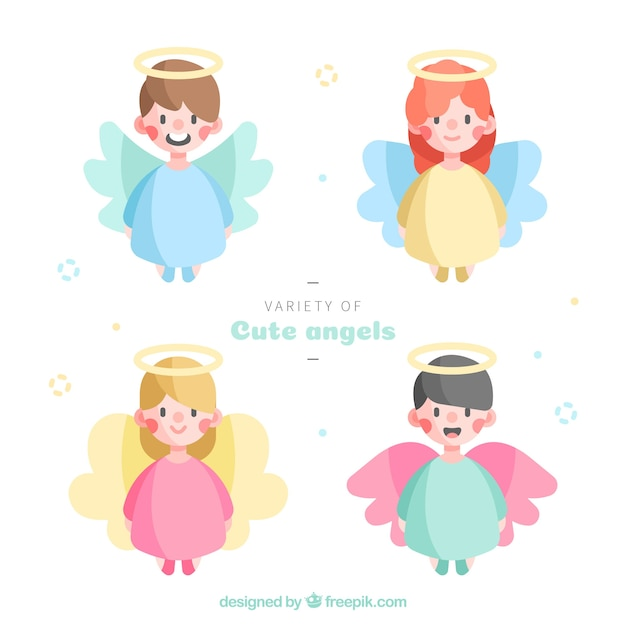 Christmas angels in colourful robes