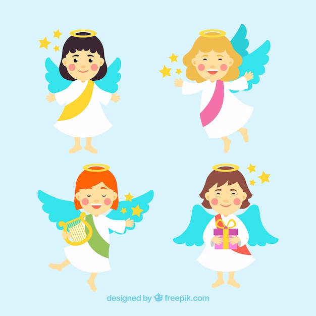 Christmas angels with different hair colours