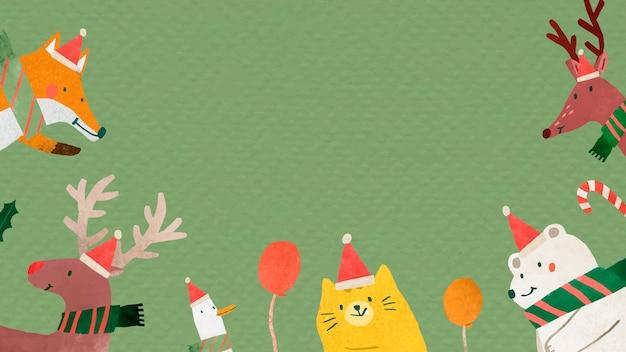 緑の背景にクリスマスの動物の落書き文字 無料ベクター