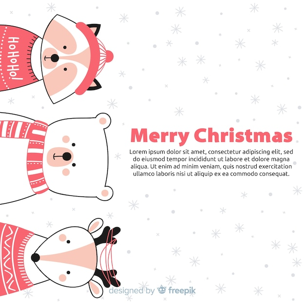 Christmas animals background Free Vector