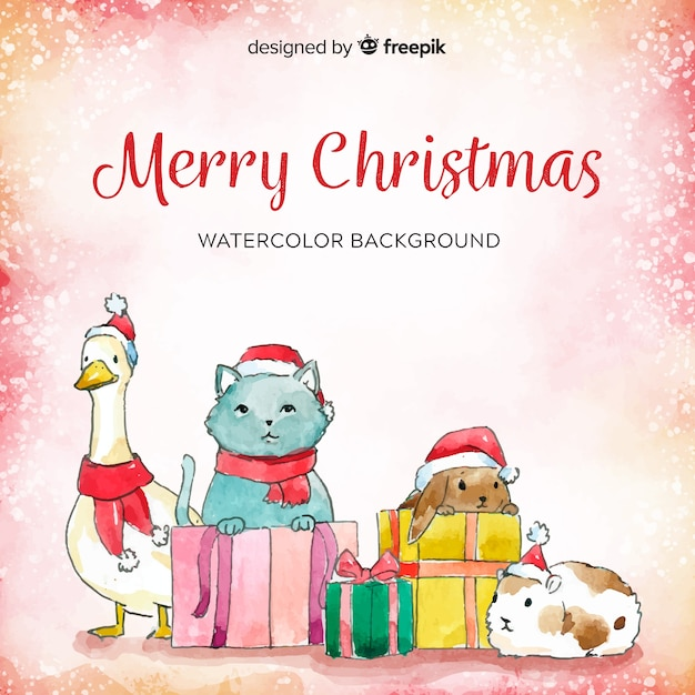Merry Christmas Animals.Christmas Animals Background Vector Free Download