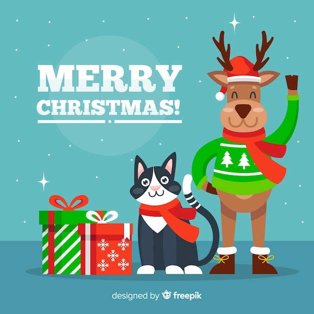 Merry Christmas Animals.Christmas Animals Greetings Vector Free Download