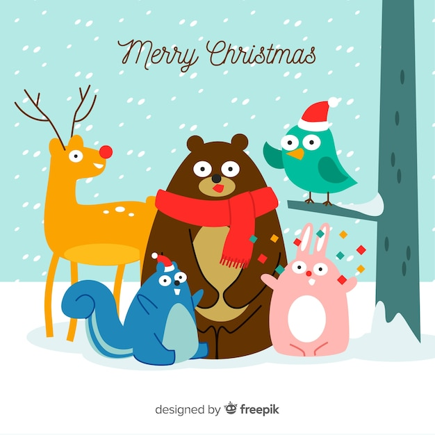Merry Christmas Animals.Christmas Animals Vector Free Download
