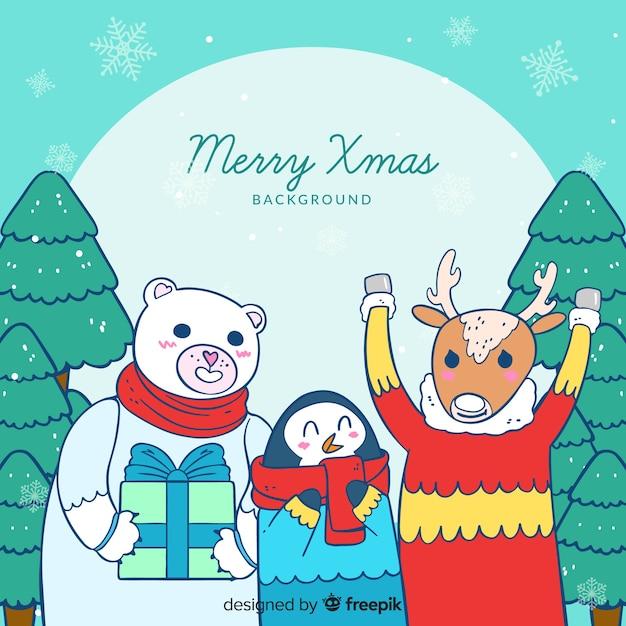 Christmas animals Free Vector