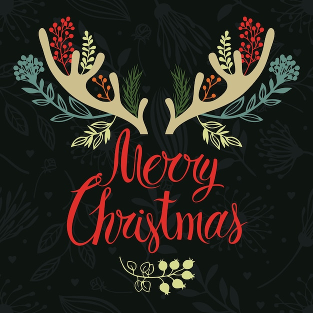 Christmas antlers postcard cover design. calligraphy and forest herbs Free Vector