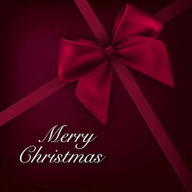 Christmas Background Card With Red Bow Vector Free Download