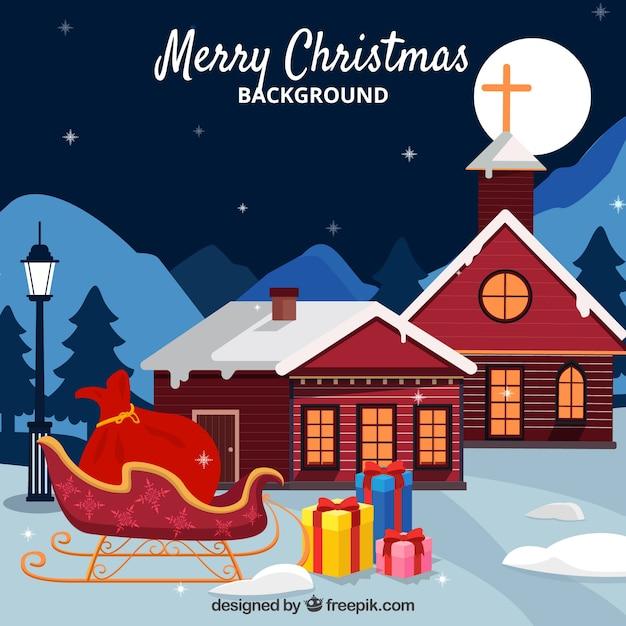Christmas background con casas y trineo Free Vector