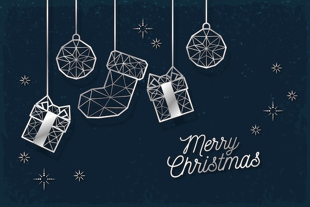 Christmas background concept in outline style Free Vector