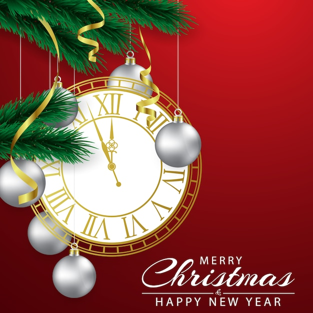 Christmas background decorated with a clock and silver ball Premium Vector
