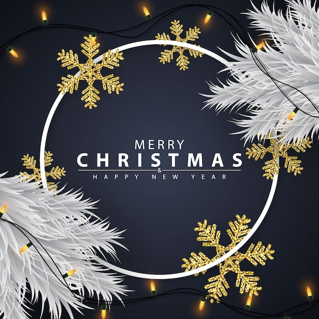 Christmas background decorated with golden snowflakes Premium Vector
