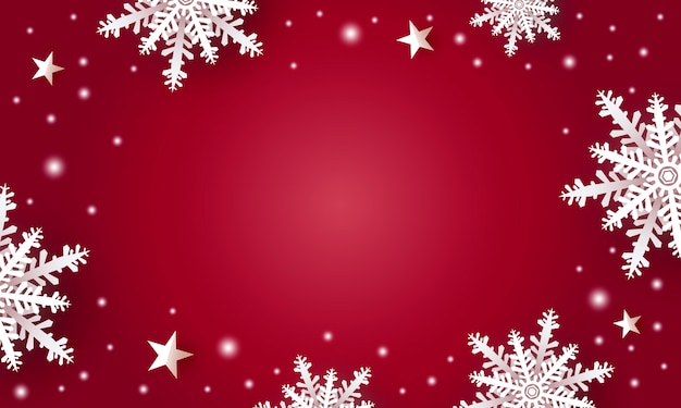 Christmas background design of white snowflake and star with copy space Premium Vector