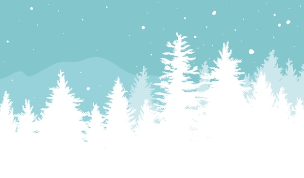 Christmas background of fir trees with snow falling in the winter Premium Vector