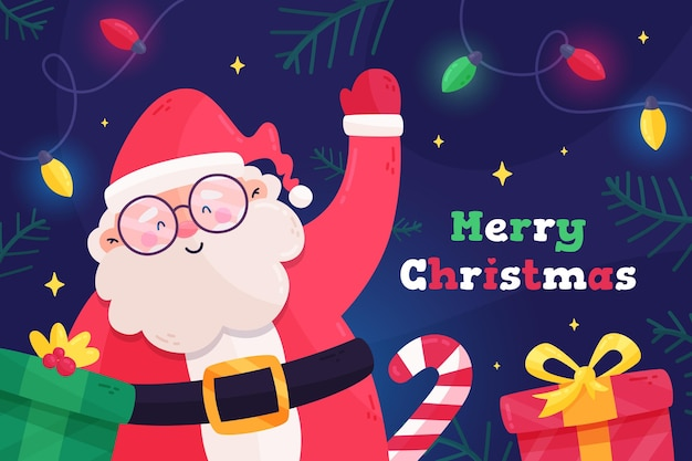 Christmas background in flat design Free Vector