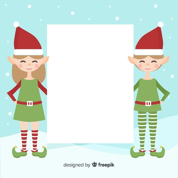 Christmas background flat elves Free Vector