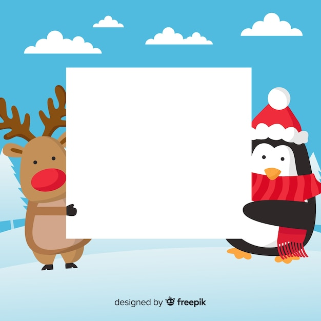 Christmas background flat friends Free Vector