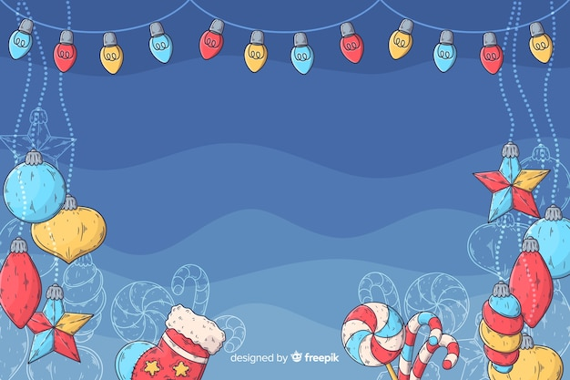 Christmas background in hand drawn design Free Vector