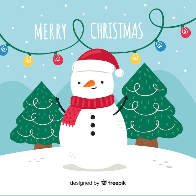 Christmas background in hand drawn Free Vector