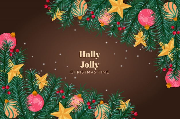 Christmas background holly jolly Free Vector