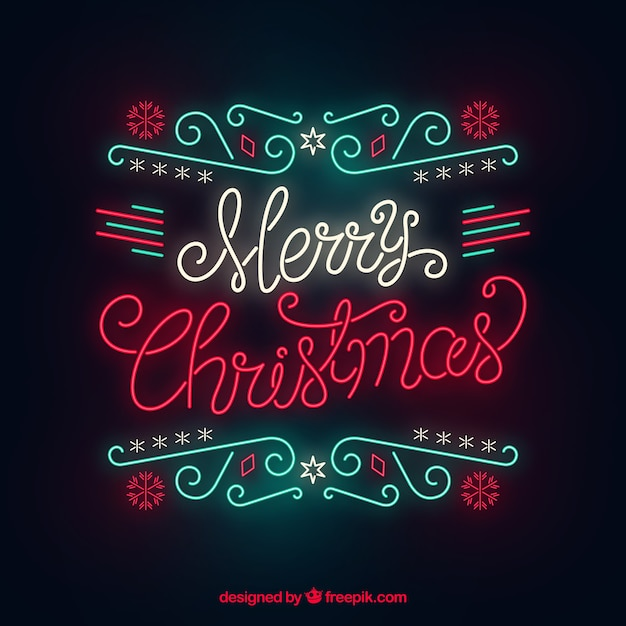 Christmas background in neon Free Vector
