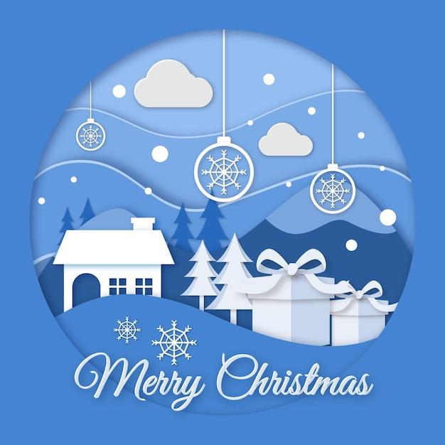 Новогодний фон в бумажном стиле с домом и подарками Бесплатные векторы