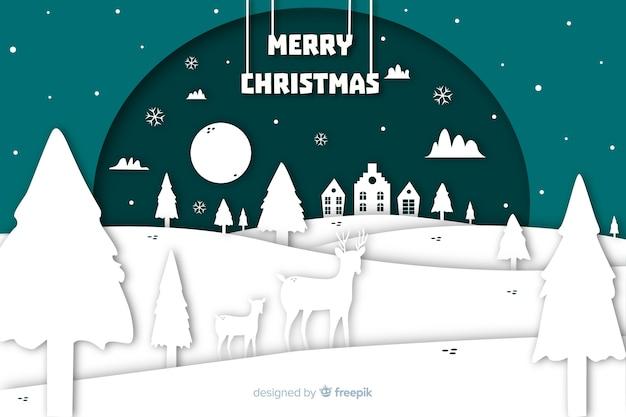 Рождественский фон в бумажном стиле Бесплатные векторы