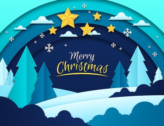 Рождественский фон в бумажном стиле Premium векторы
