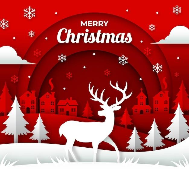紙のスタイルでクリスマスの背景 無料ベクター