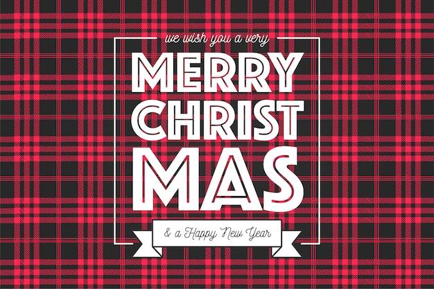 빨간색과 검은 색 타탄 패턴에서 크리스마스 배경 무료 벡터
