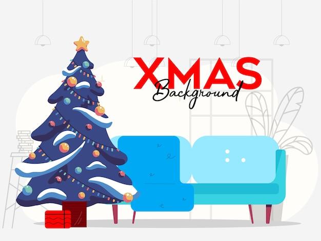 ソファとクリスマスツリーと屋内のクリスマスの背景 Premiumベクター