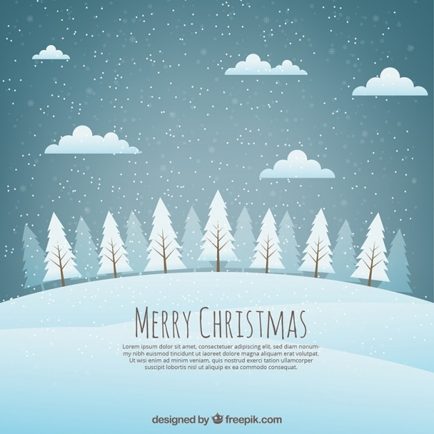 Christmas background landscape with snowy trees Free Vector
