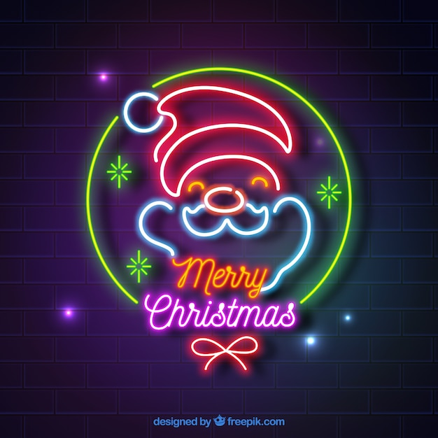 Christmas background made out of neon lights