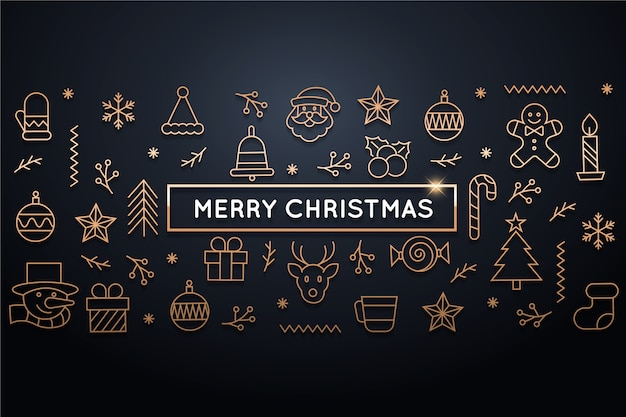 Christmas background in outline style Premium Vector