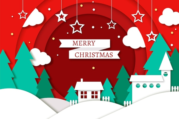 Christmas background in paper style with houses and pine trees Free Vector