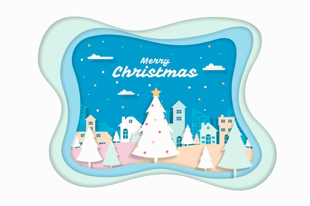 Christmas background paper style Free Vector
