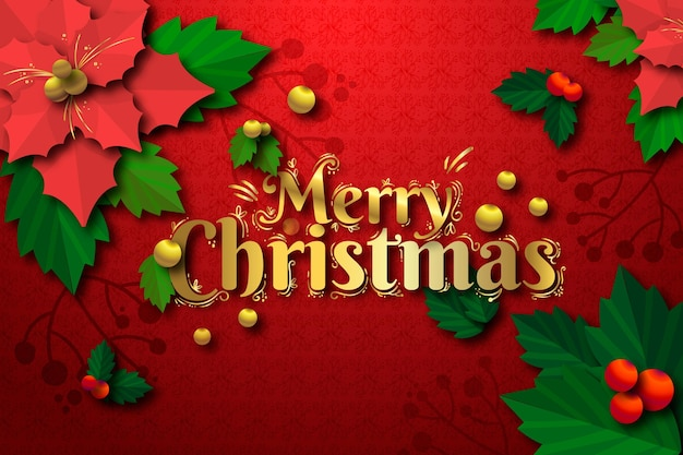 Christmas background in paper style Free Vector