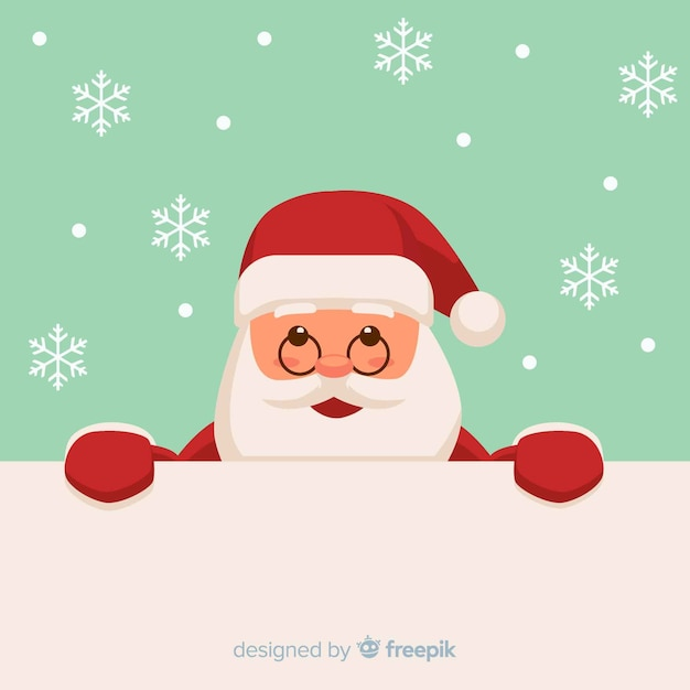 Christmas background peeping out santa Free Vector