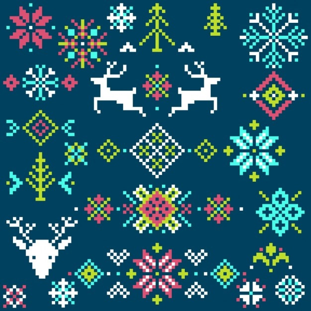 Christmas background pixel Free Vector