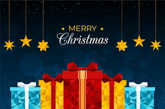 Christmas background in polygonal style Free Vector